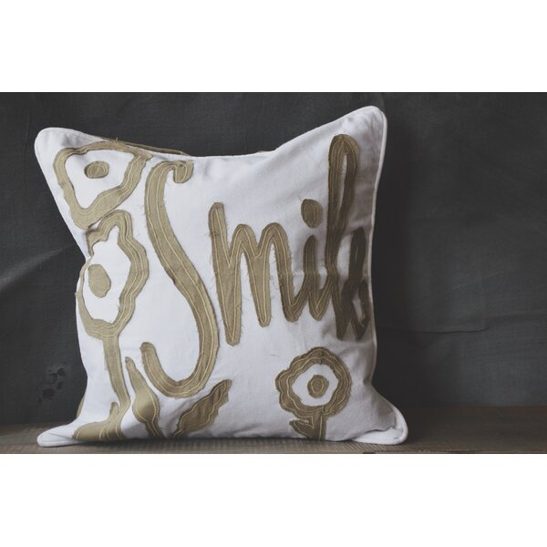 Patina Vie Smile 100% Cotton Throw Pillow by Patina Vie